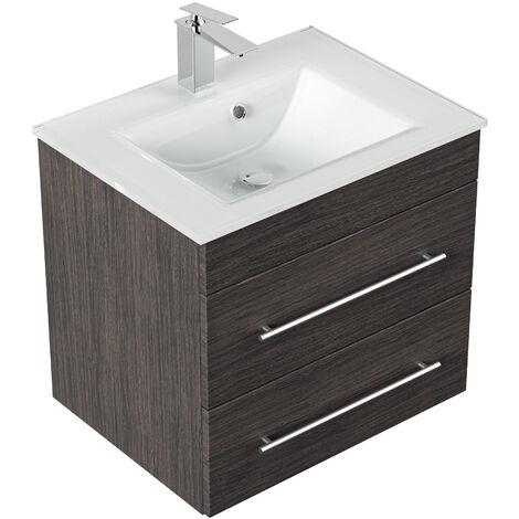 Meuble salle de bain Vitro vasque en verre en décor Charbon antique