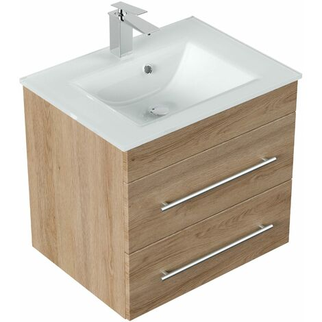Meuble salle de bain Vitro vasque en verre en décor chêne