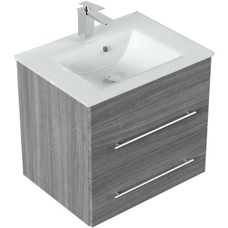 Meuble salle de bain Vitro vasque en verre en décor chêne argenté
