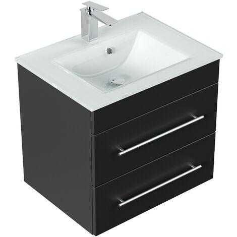 Meuble salle de bain Vitro vasque en verre en noir satiné