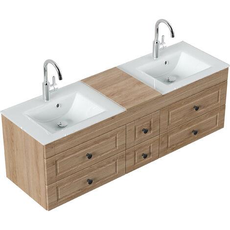 Meuble salle de bain Vitro XL Cottage double vasque en verre Décor chêne
