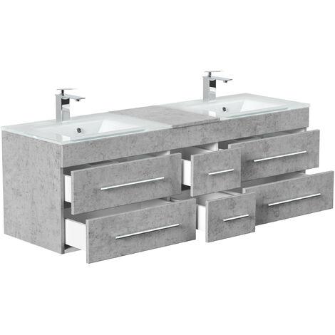 Meuble salle de bain Vitro XL double vasque en verre en Aspect Béton