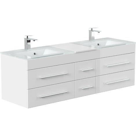 Meuble salle de bain Vitro XL double vasque en verre en blanc brillant