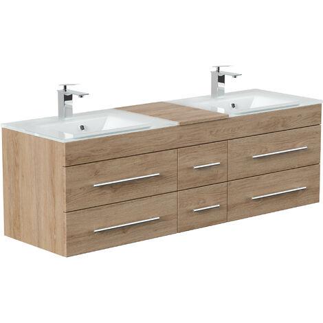 Meuble salle de bain Vitro XL double vasque en verre en décor chêne