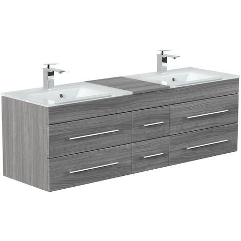 Meuble salle de bain Vitro XL double vasque en verre en décor chêne argenté