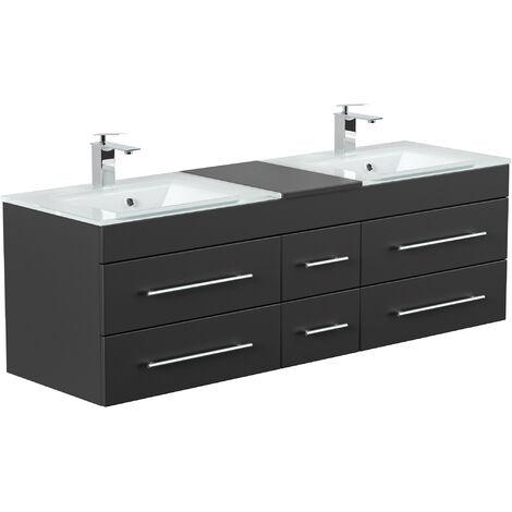 Meuble salle de bain Vitro XL double vasque en verre en noir satiné