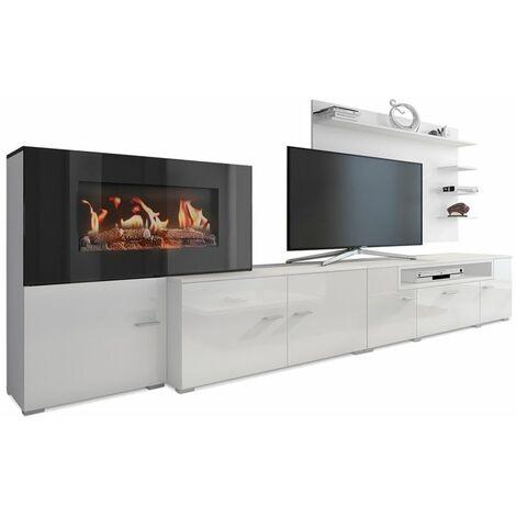 Meuble salon+cheminée électrique,5 niv.de flamme,Blanc mat/chêne clair brossé,290x170x45