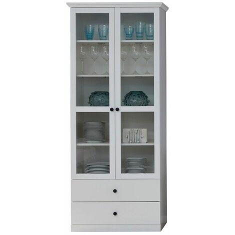 Meuble salon/séjour mélaminé. Meuble vitrine. L - H - P : 81 - 196 - 41 cm - Blanc