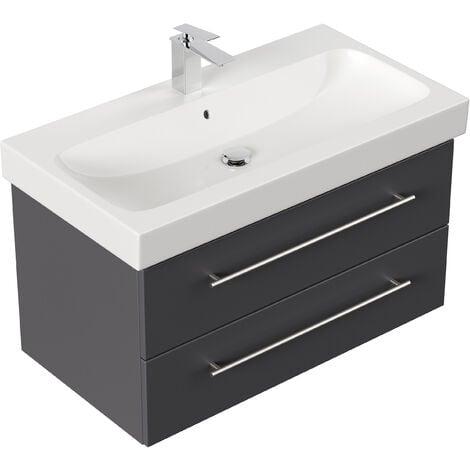 Meuble SDB avec vasque de Geberit Icon 90 cm anthracite satiné