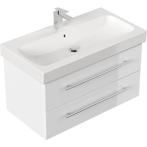 Meuble SDB avec vasque de Geberit Icon 90 cm blanc brillant