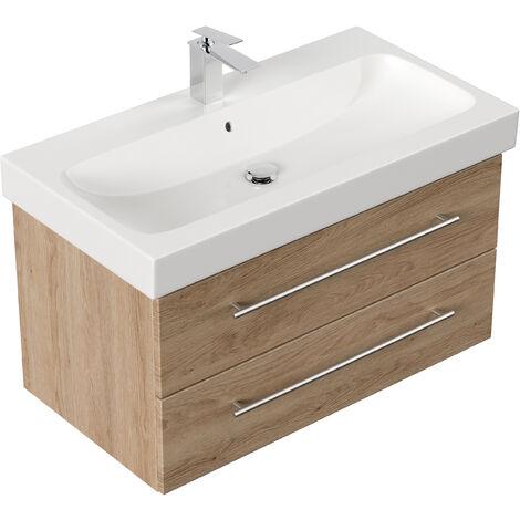 Meuble SDB avec vasque de Geberit Icon 90 cm décor Chêne