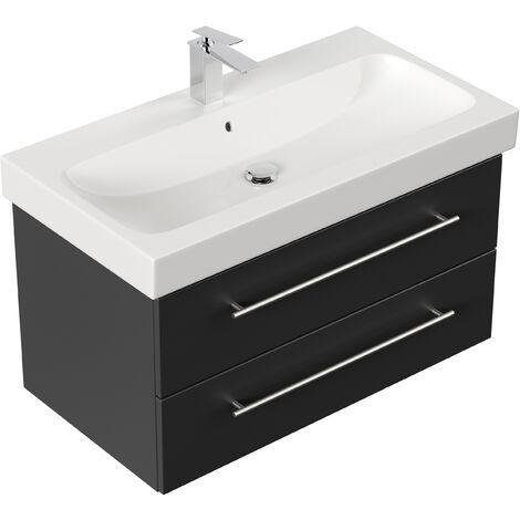 Meuble SDB avec vasque de Geberit Icon 90 cm noir satiné