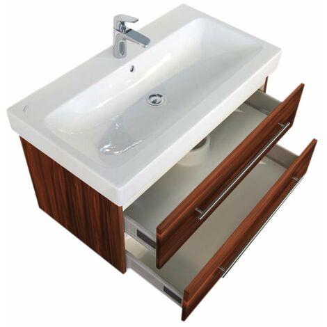 Meuble SDB avec vasque de Geberit Icon 90 cm noix satiné