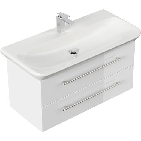 Meuble SDB avec vasque de Geberit MyDay 100 cm blanc brillant