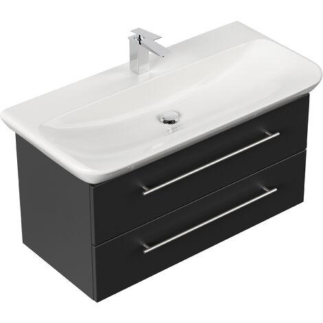 Meuble SDB avec vasque de Geberit MyDay 100 cm noir satiné