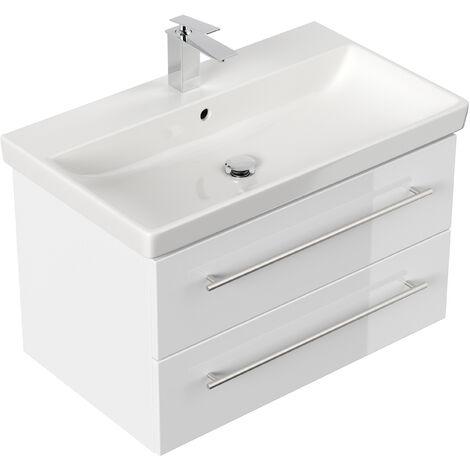 Meuble SDB avec vasque de Villeroy & Boch Avento 80cm blanc brillant