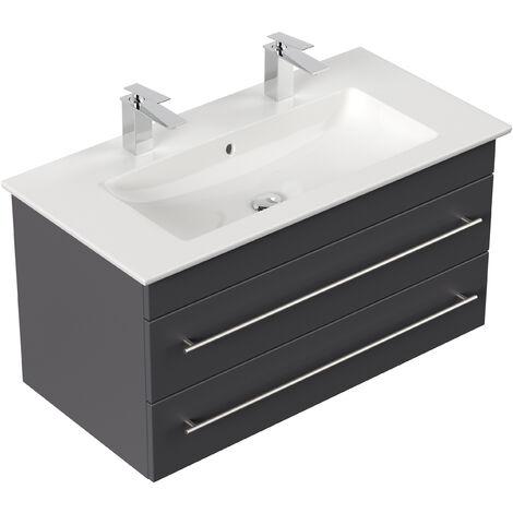 Meuble SDB avec vasque de Villeroy & Boch Venticello 100 cm double anthracite