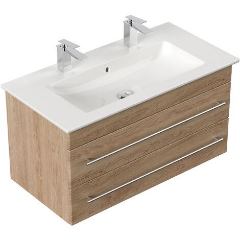 Meuble SDB avec vasque de Villeroy & Boch Venticello 100 cm double décor Chêne