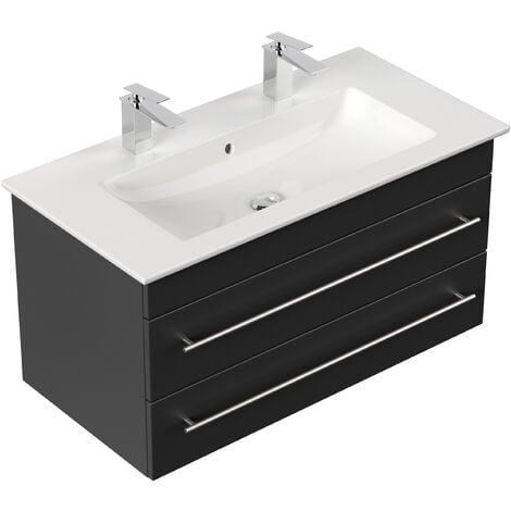 Meuble SDB avec vasque de Villeroy & Boch Venticello 100 cm noir satiné
