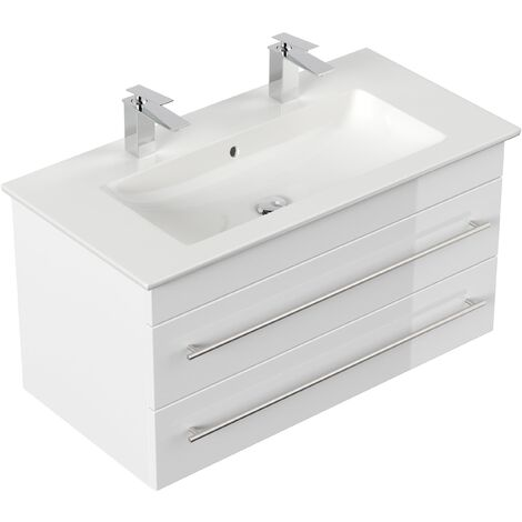 Meuble SDB avec vasque de Villeroy & Boch Venticello 100cm double blanc brillant