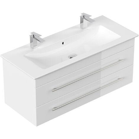Meuble SDB avec vasque de Villeroy & Boch Venticello 120 cm double brillant