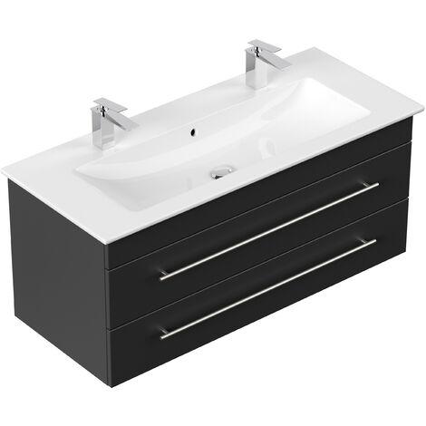 Meuble SDB avec vasque de Villeroy & Boch Venticello 120 cm double noir satiné
