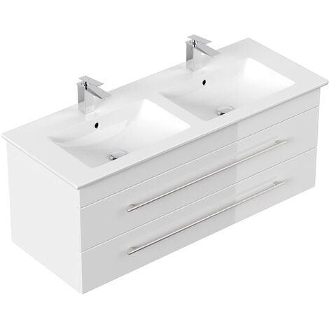 Meuble SDB avec vasque de Villeroy & Boch Venticello 130 cm double blanc