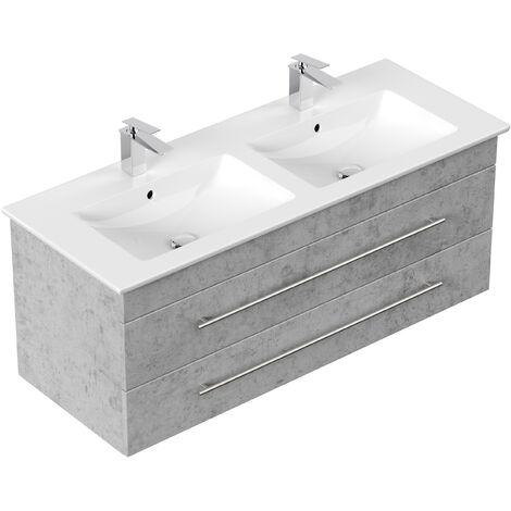 Meuble SDB avec vasque de Villeroy & Boch Venticello 130 cm double décor Béton