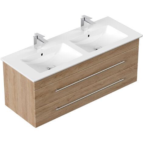 Meuble SDB avec vasque de Villeroy & Boch Venticello 130 cm double décor Chêne