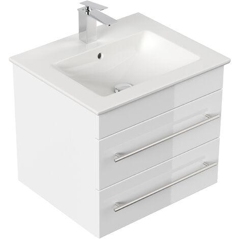 Meuble SDB avec vasque de Villeroy & Boch Venticello 60 cm blanc brillant