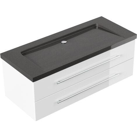 Meuble SDB Damo blanc avec vasque en granit India Black, 130cm sans pré-perçage
