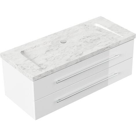 Meuble SDB Damo blanc avec vasque en marbre Carrara White 130cm sans pré-perçage