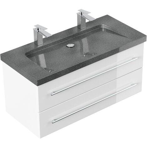 Meuble SDB Damo blanc brillant avec double vasque en granit G654, 100cm