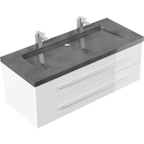 Meuble SDB Damo blanc brillant avec double vasque en granit G654, 130cm
