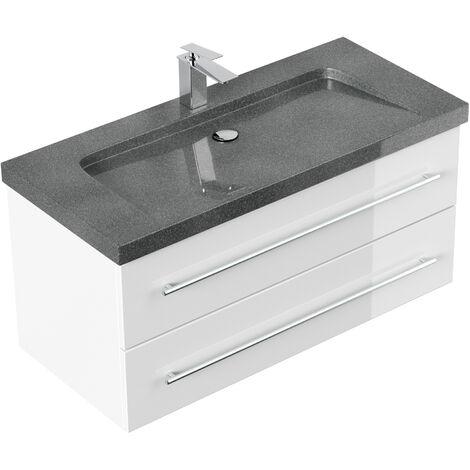 Meuble SDB Damo blanc brillant avec simple vasque en granit G654, 100 cm