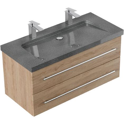 Meuble SDB Damo décor chêne avec double vasque en granit G654, 100cm