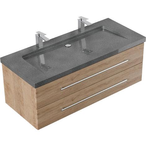 Meuble SDB Damo décor chêne avec double vasque en granit G654, 130cm