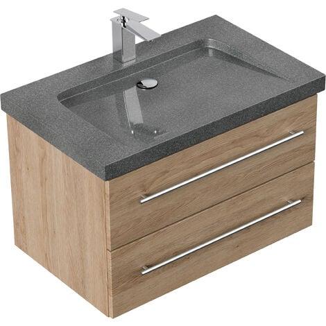 Meuble SDB Damo décor chêne avec simple vasque en granit G654, 75cm