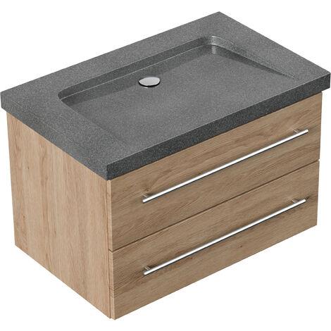 Meuble SDB Damo décor chêne avec vasque en granit G654, 75cm sans pré-perçage