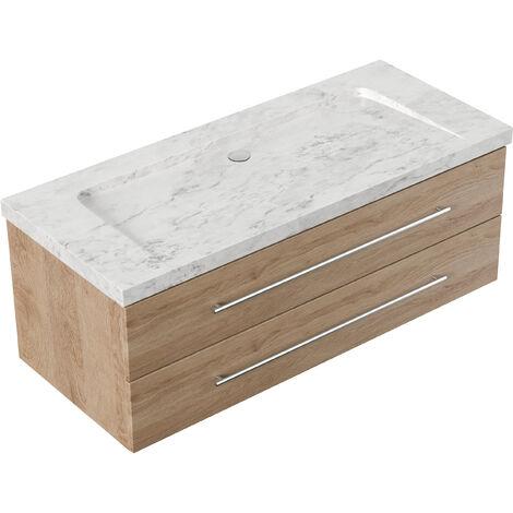 Meuble SDB Damo en avec vasque en marbre Carrara White 130cm sans pré-perçage
