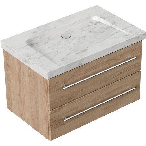 Meuble SDB Damo en avec vasque en marbre Carrara White 75cm sans pré-perçage