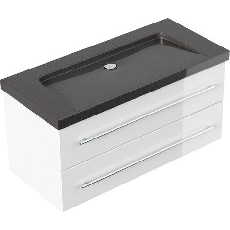 Meuble SDB Damo en blanc avec vasque en granit IndiaBlack 100cm sans pré-perçage