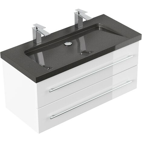 Meuble SDB Damo en blanc brillant avec double vasque en granit India Black 100cm