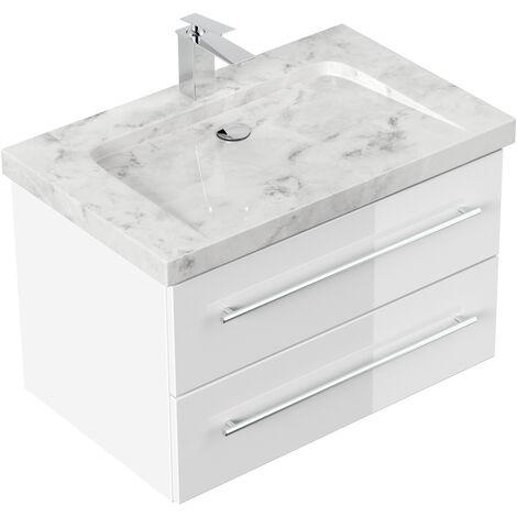 Meuble SDB Damo en blanc brillant avec une vasque en marbre Carrara White 75 cm