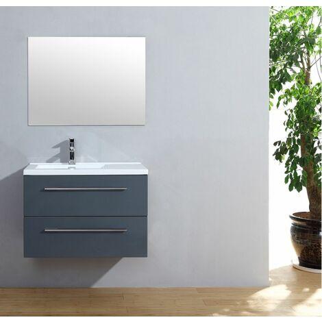 Meuble simple vasque 77 Saturn 2.0 Gris Brillant miroir Slim