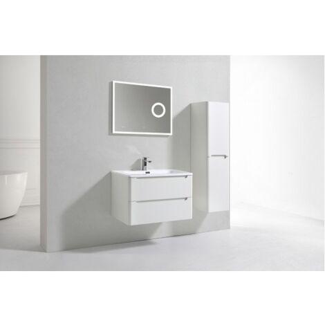 Meuble simple vasque 80cm Toola Blanc Ivoire miroir Lite