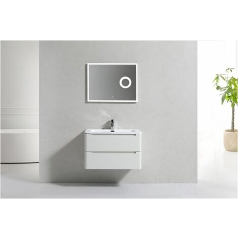 Meuble simple vasque 80cm Toola Blanc Ivoire sans miroir
