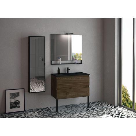Meuble simple vasque RIVAGE 90 cm Noyer