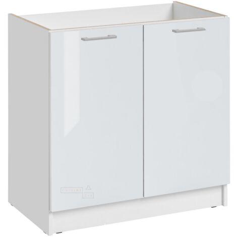 Meuble sous-évier - 2 portes, L 80 cm - blanc brillant - Blanc brillant.