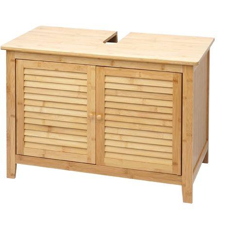 """main image of """"Meuble sous évier HHG-557, meuble sous vasque, armoire, salle de bain, bambou ~ 60x80x40cm"""""""